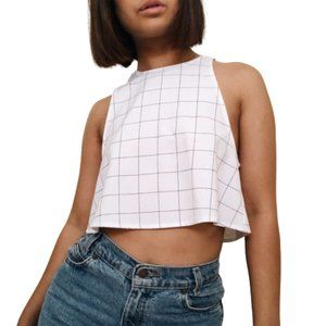American Apparel White Grid Open-Back Crop, Size S